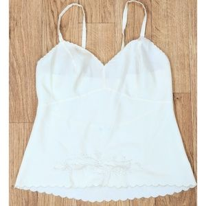 AUTH Christian Dior Embroidered Scalloped Camisole